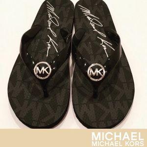 Michael Kors Signature Black Flip Flops- New!